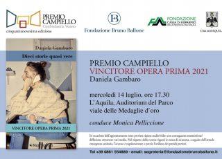 La Fondazione Carispaq sostiene la presentazione all'Aquila del Premio Campiello Opera Prima 2021